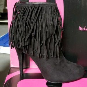 Black fringe high heel ankle boots